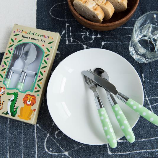 Green Polka Dot Children's Cutlery Set