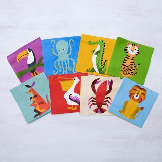 jungle animals paper napkins