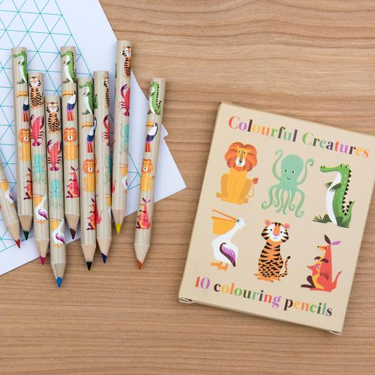 Colourful Creatures set of 10 colouring pencils