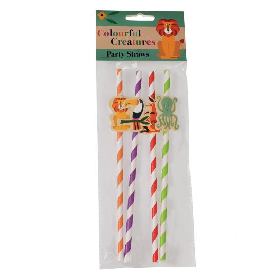 Pack of 4 Paper Party Straws with Animal Decorations