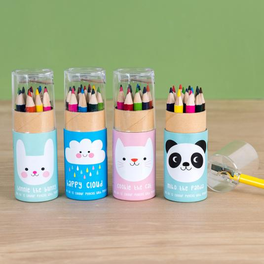 Colouring pencils and sharpener