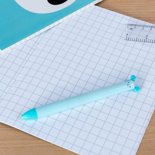 Cookie the Cat retractable pen with blue and black ink