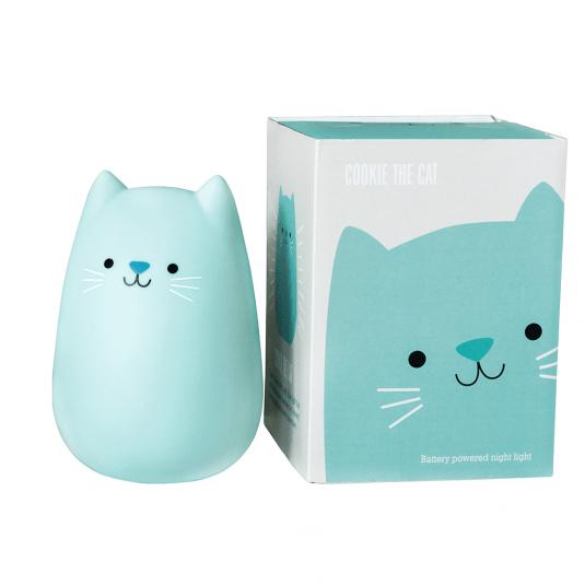 Battery powered blue cat LED night light