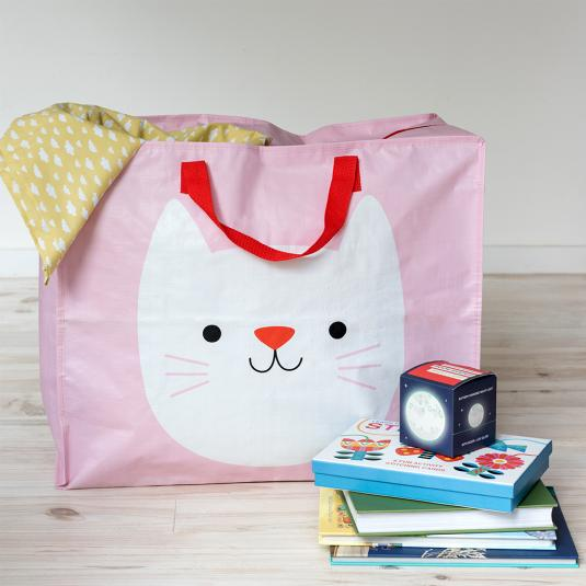 large pink storage bag with red handles and zip white cat print