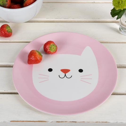 kids pink Melamine Plate white cat print