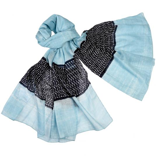 blue and black cotton scarf