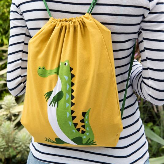 Colourful Creatures Crocodile Drawstring Bag