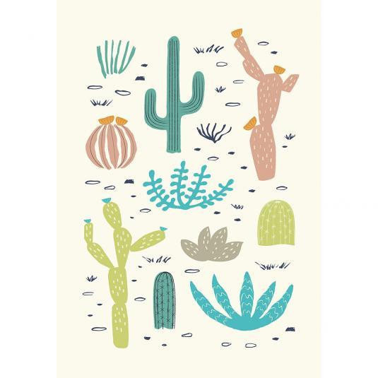 Desert In Bloom Cactus Greetings Card