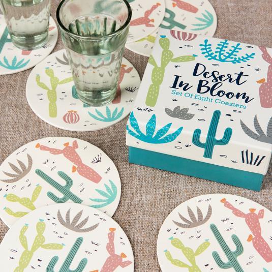 Desert In Bloom Cactus Print Coasters