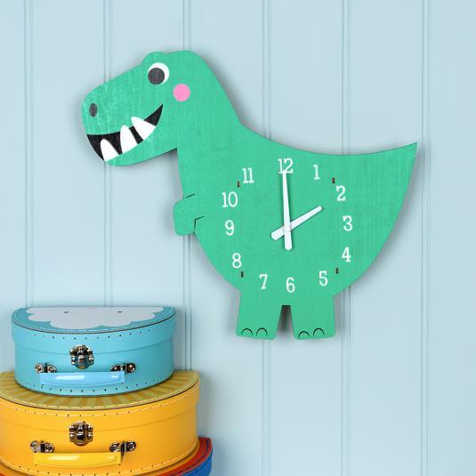 Dex the Dinosaur wooden wall clock