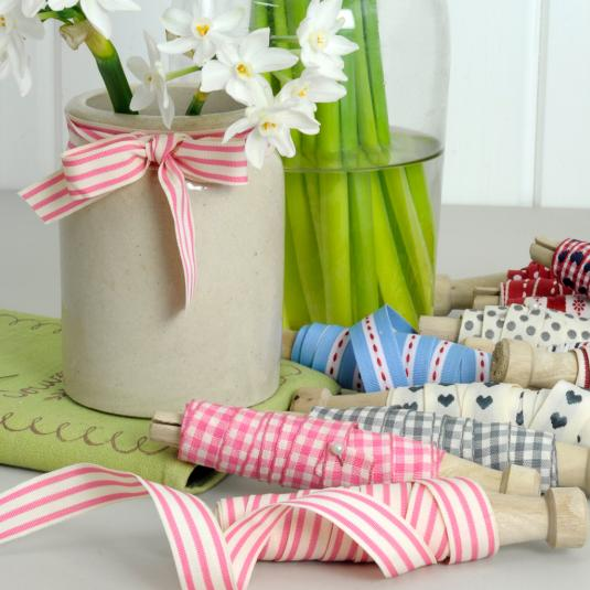 Dolly Bobbin Ribbon Pink & White Stripe