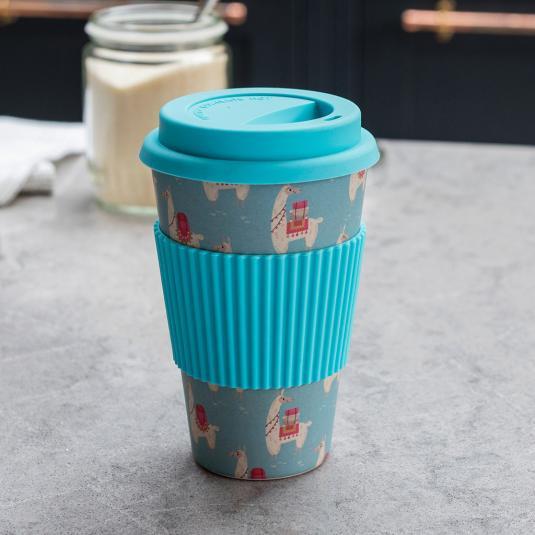 Llama travel mug in bamboo fibre 400ml capacity