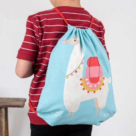 blue Cotton drawstring bag for kids with llama print