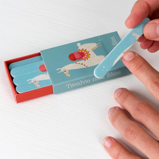 Set of twelve Dolly Llama matchbox nail files