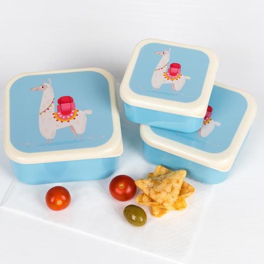 Set of three BPA free plastic snack boxes with llama print