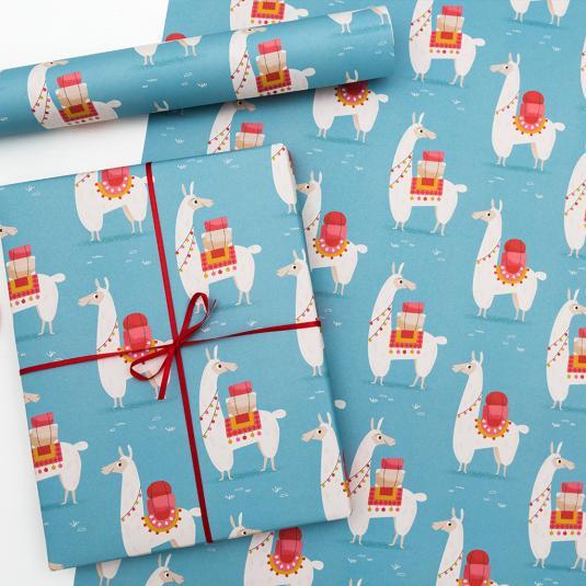 Llama printed wrapping paper (5 sheets)