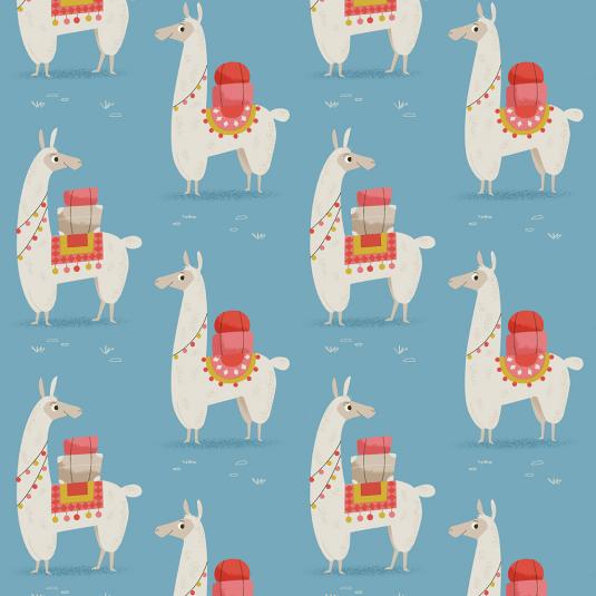Alpaca printed blue wrap