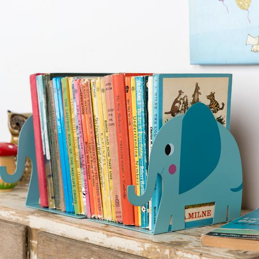 Elvis The Elephant blue Bookends