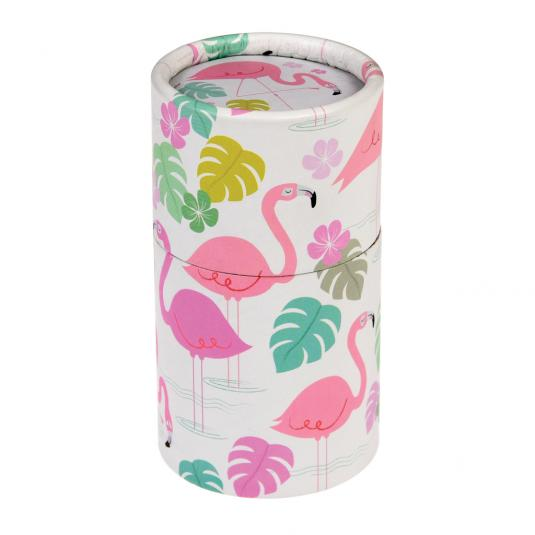 Colouring pencils in a pink flamingo print tube