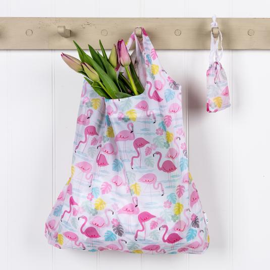 Reusable shopper bag pink flamingo print