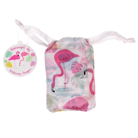 Reusable shopper bag pink flamingo print in a pouch