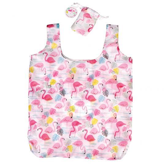 Pink Flamingo Bay Foldaway Shopping Bag