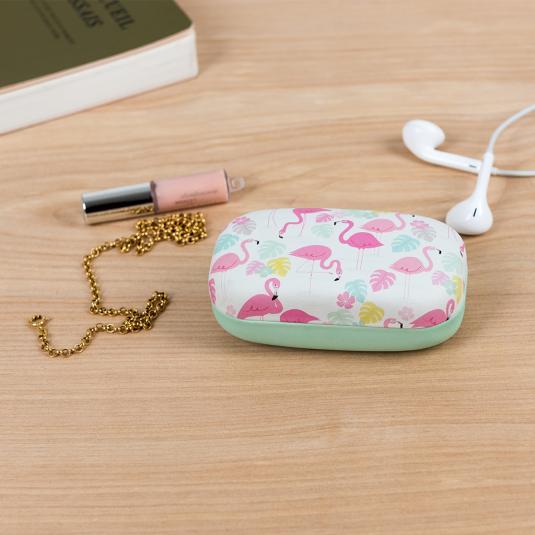 Flamingo Bay mini hard shell travel case for jewellery and earphones