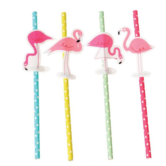 Flamingo design paper party straws