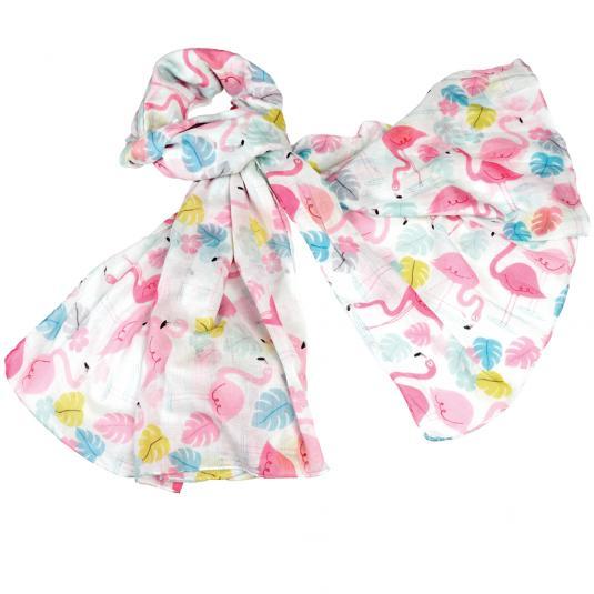 Flamingo print cotton scarf