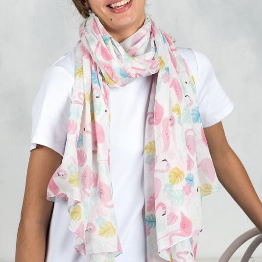 Pink Flamingo Printed Cotton Scarf