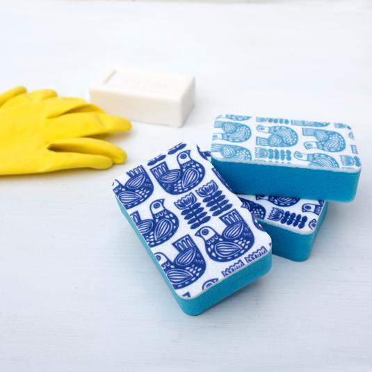 Folk Bird Blue Washing Up Sponges