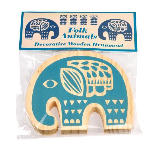 Folk Animal Wooden Elephant