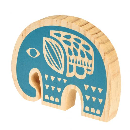 Folk art Animal blue Wooden Elephant