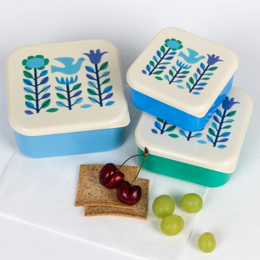 Folk Doves set of three snack boxes