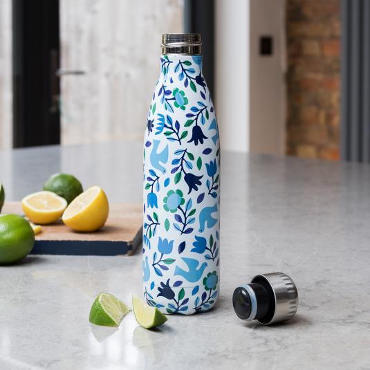500ml stainless steel water bottle Folk Doves design