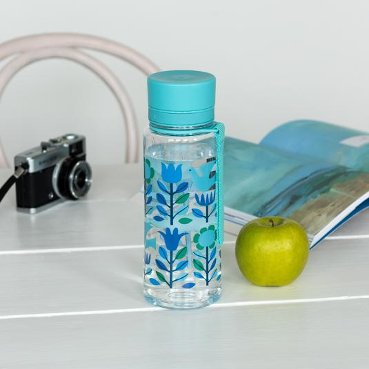 clear water bottle printed with blue folk flowers and doves with blue lid and strap