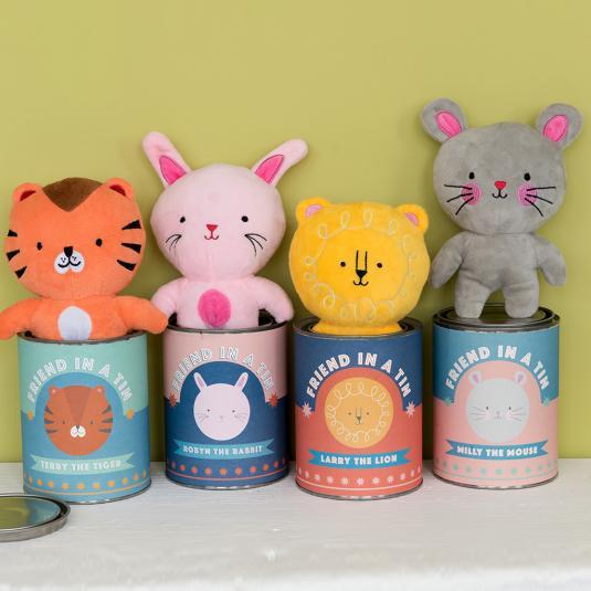 animal soft toys with presentation tins