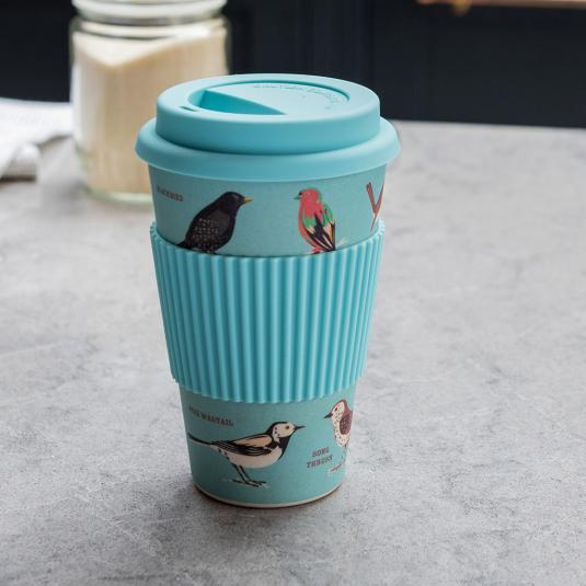 400ml volume bamboo travel mug with garden birds design and silicone lid and sleeve