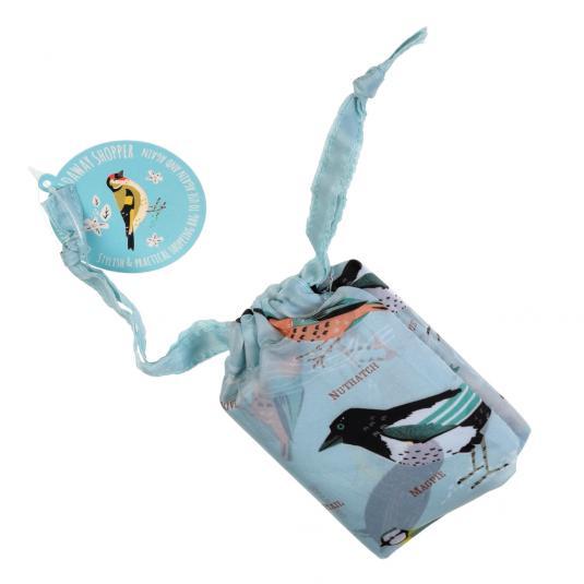 Garden Birds Blue Foldaway Shopping Bag