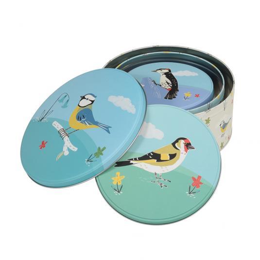 Set Of 3 Garden Birds Nesting Storage Tins