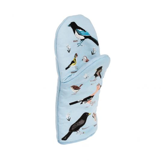 Blue Garden Birds Print Oven Glove