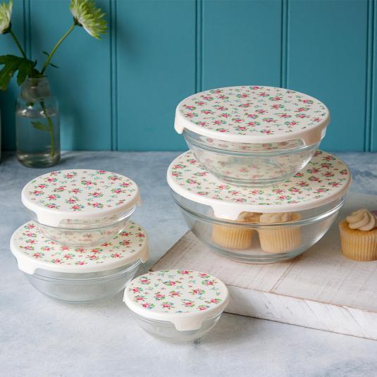 Set Of 5 La Petite Rose Glass Bowls