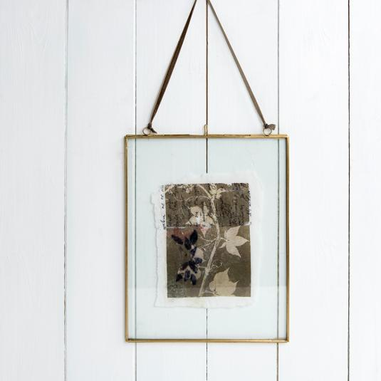 Glass and metal Hanging Brass picture Frame 25x20cm
