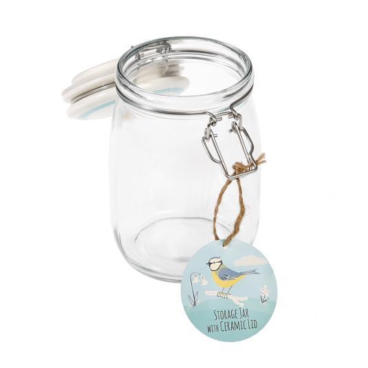 1 Litre Glass Jar with Ceramic Blue Tit Print Lid