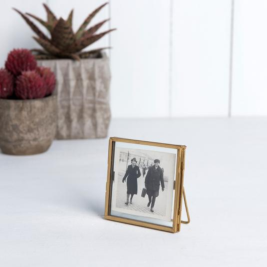 Glass and metal gold Standing photo Frame 8x8cm
