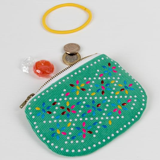 Green colourful beaded purse for coins and accessories