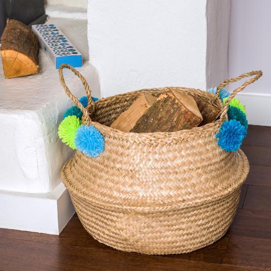 Pom Pom Belly Basket Home Storage