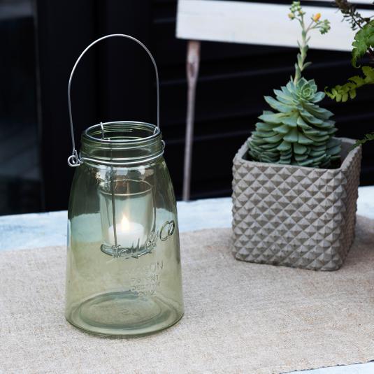 Green Mason Jar Tealight Holder