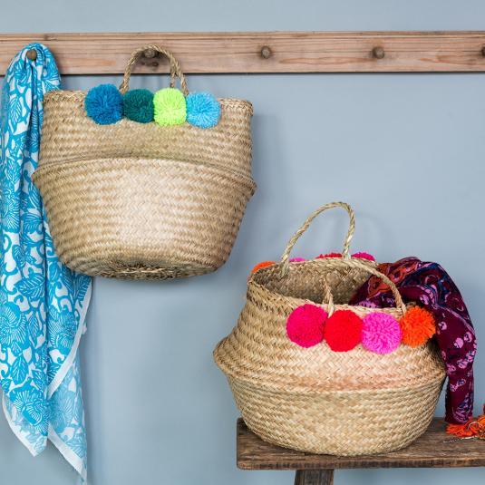 Pom Pom Belly Baskets Home Storage