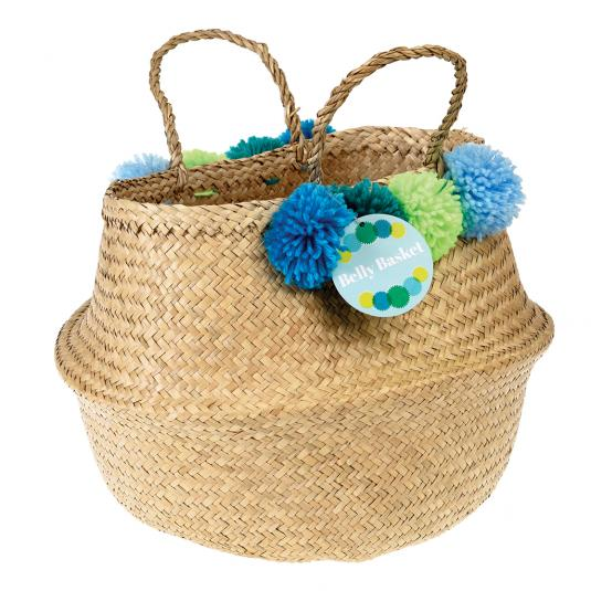 Green Pom Pom Belly Basket